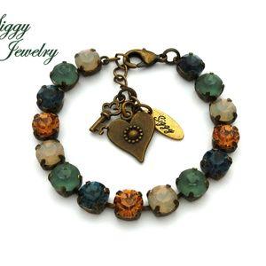 Swarovski Crystal Bracelet Blue Matte Green Opals